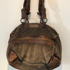Liebeskind Berlin Brown Velvet/Leather Satchel
